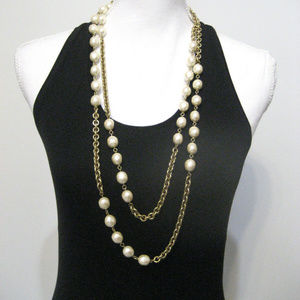 "CHANEL Double Strand Gold Chain and Pearl 36"" Long"